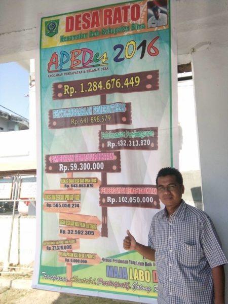 Papan Informasi tentang Add DI Desa Rato Kecamatan Bolo, SEBAGAI SALAH SATU BENTUK KETERBUKAAN./Foto: sumber FB Faizal Zamzama.