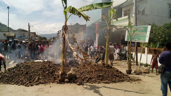 Aksi warga Tente memblokir jalan depan terminak Tente beberapa waktu lalu, mereka juga menanam pohon pisang di jalan.
