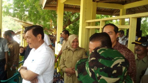 Luhut didampingi Bupati dan Wali Kota saat di panggung pacuan kuda Panda.